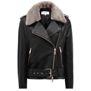 SOLD REISS Dree Shearling And Leather Jacket Black
